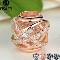 Wholesale Clear Bead Coins - Original 14K Gold Plated Galaxy, Rose & Clear CZ Bead 925 Sterling Silver Charm Fit Pandora Bracelet Jewelry Making AS120