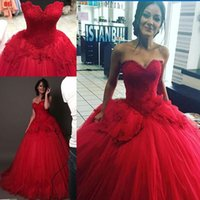 Barato Contas Personalizadas-Red Ball Gown Prom Dresses querida Beads Appliques Lace Up Voltar Girls Dressup vestido de varredura Customized Princess Bridal Dress