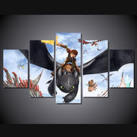 Wholesale Train Wall Art - 5Pcs Set Framed HD Printed How To Train Your Dragon Kid Room Wall Art Canvas Print Poster Canvas Pictures Painting