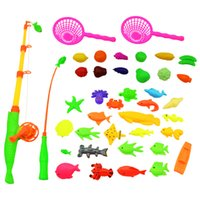 Wholesale Outdoor Rod Set - Wholesale-40pcs lot Magnetic Fishing Rod Toy For Kids Child Educational Model Play Fishing Games Outdoor Boy Toys Set