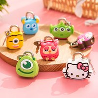 Cartoon box Cute Cartoon Doll Animal Mini Silicone Metal Padlock Anti-ladrão Segurança Lock com chave para bagagem gaveta Free Shopping