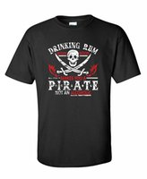 Wholesale Pirate Shirts Men - 2017 Brand T Shirt Men Fashion Drinking Rum Before Noon Makes You A Pirate novelty drinking funny T Shirt