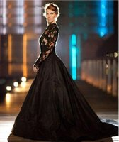 Wholesale Taffeta Robe - New Vintage Gothic Style Black prom Dresses Long Sleeves High Neck Lace Tulle Taffeta A-Line Sweep Train Bridal Gowns Robe de marrie