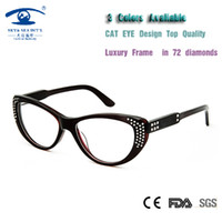 Wholesale Grade Spectacle Frame - Wholesale- High Quality Luxury Cat Eye armacao de oculos de grau Diamond Women Myopia Lens Prescription Glasses Grade Spectacle Frame