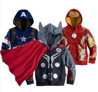 Wholesale cotton blends kids outwear coats for sale - Autumn Children Hoodie Coat Spider Man Captain America Sweatshirts Iron Man Thor Outwear Cloak Poncho New Kids Clothing Free DHL