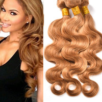 Wholesale Super Cheap Peruvian Hair - Blond human hair extensions 8A grade super cheap peruvian body wave virgin hair weft weaves 3pcs 300grams #27