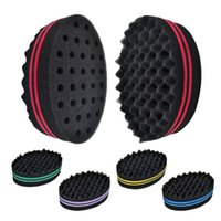 Sponge Hair Brushes sponge holes - 2 in Hair Sponge Brush For Afro Twists Curls Dreads Braids Coils Waves For Men Professional Double Sided Barber Sponge With Holes ZA2470