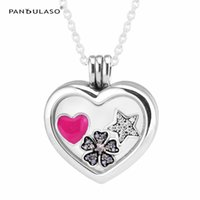 ingrosso fascini galleggianti di blocchi di fiori-Star Flower Heart Petites Medium Floating Locket Pendant Collane Gioielli in argento sterling DIY Choker Fit perline di fascini pandora
