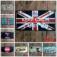 Wholesale Bulls Signed - License plates retro metal tin signs texas bull gas oil closed wall decoration plaque vintage iron painting art for pub bar hotel craft gift