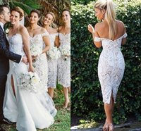Wholesale Laced Nude Bridesmaid Dresses - 2018 Elegant Lace Short Bridesmaid Dresses Off Shoulder Sheath Knee Length Backless Ivory Nude Wedding Guest Dresses Short Bridal Dresses