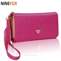 Wholesale Iphone4 Handbag - Wholesale- Lady Women PU Leather Zipper Handbag Wallet Clutch Purse Evening Bag Purse Phone Case Cover for iPhone4 4S 5 Samsung S2 S3 LB702