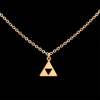 Оптовые 10Pcs / lot 2017 Fashion Hip Hop Jewelry Pendant Anime Game series Легенда о Zelda Triangle Choker Ожерелья Mens Gold Necklace