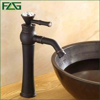 Wholesale Chrome Crystal Faucet - FLG Bath Mat Platform Heightening Oil Rubbed Bronze Sink Faucet Crystal Long Spout 360 Degree Swivel Wash Basin Mixer Tap M009