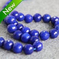 Wholesale Natural Jade Faceted Beads Necklace - New Necklace&Bracelet Accessories 12mm Natural Dark Blue jade beads Round Jasper jade Beads loose stones Faceted 15inch Jewelry