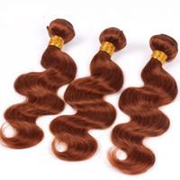 tejido de remy auburn al por mayor-# 30 Auburn Brasileña Body Wave Hair teje paquetes de cabello humano 3 unids o 4 unids Virgin Hair Extensions trama Remy tejido 8-28 pulgadas promoción