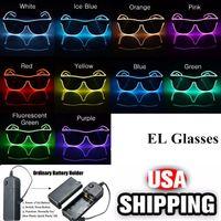 светодиодные солнечные очки оптовых-Простые эль-очки El Wire Fashion Neon LED Light Up Shutter Shaped Glow Солнцезащитные очки Rave Costume Party DJ Яркие солнечные очки YYA567