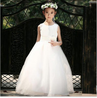 Wholesale Little Girl Clothes For Sale - Girls Pageant Dresses Little Flower Girl for Weddings Teens Juniors Clothing Toddler Prom Ball Gown Tulle Children White Pink Kids Hot Sale