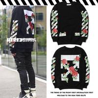 Wholesale Couple Coats - OFF WHITE Sweatshirt ARROWS TULIPS Printed Rose Floral Print Sweater Men and Women Couple Coat Sweater Women Fleece OW Hoodies New Streetwea
