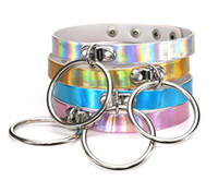 Wholesale Metal Collars Slaves - Rainbow Laser PU Leather Choker Necklace Collar Metal Circle Ring Charm Sub Slave Necklace for Women Statement Jewelry