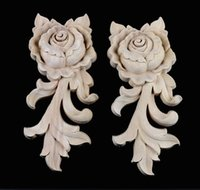 Wholesale Solid Wood Doors Wholesale - 4PCS LOT 5.5*6.5*1.5cm European Solid Rubber Wood Carved Door Trim Drawer Rose Flower Decals