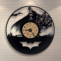 Wholesale Batman Decor - Vinyl Record Clock Batman Design Wall Decor Art Gift Room Modern Home Record Vintage Decoration Party Decoration Halloween And Christmas Dec