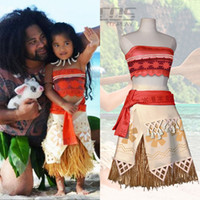 Wholesale Dress Party Sleeveless - Hot Movie Princess Moana Cosplay Costume for Kids Moana Princess Dress Children Halloween Costume Party Dress CS016