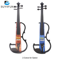 Wholesale Wood Fretboards - Wholesale-Full Size 4 4 Electric Violin Fiddle Maple Wood Stringed Instrument Ebony Fretboard Rest with Connecting Cable Earphone Case
