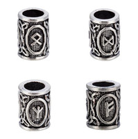 Wholesale Smallest Glass Beads - 10Pcs a lot Runes Viking Beads Metal Charm for Making Small Floating Czech Fit Pandora Charms for Bracelets DIY Beads for Beard or Hair