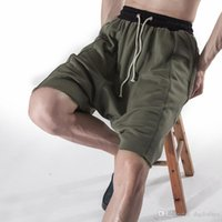 Wholesale Knee Length Sweaters - Europe American Fashion Master Splicing Design Tight Waist Knee Length Pants New Tide Sweater Shorts Cross-Pants Men Shorts
