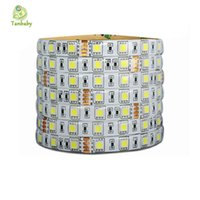Wholesale Strip Dc24v - Wholesale-Tanbaby DC24V Waterproof strip Led 5050 5M roll 60led M flexible led ribbon outdoor decoartion Warm White RGB