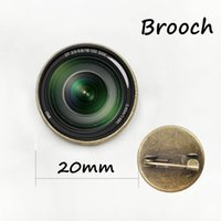 Wholesale Anniversary Camera - Photography camera lens brooches DSLR Lenses Art Picture Glass Cabochon Dome badge Popular unisex Luxury Pins