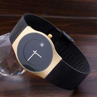 Wholesale Mesh Watches - New Luxury Brand Men's Watches Fashion Women Sports Quartz Watch Stainless Steel Mesh Strap Ultra Thin Dial Date Clock Milanese Black