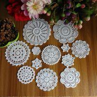 Wholesale hand crocheted doilies - Wholesale-New Design 24Pcs 100% Cotton Hand Made Crochet Doilies Cup Mat Pad Coaster 12 Vintage Crochet Motifs 5-18cm White Beige HD079