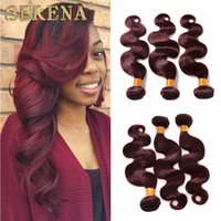 Wholesale Indian 32 Inch Wavy Weave - 8A Brazilian Human Hair Weaves Burgundy Ombre Body Wave 3 Bundles Colorful Tone Colored 99J Red Wine Ombre Wavy Hair Weft Extensions