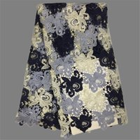 en moda elbiseler toptan satış-En moda giyim kumaş Afrika suda çözünür dantel kumaş elbise EWP9 için güzel gipür dantel malzeme (5 yards / lot)
