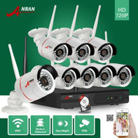 Wholesale Surveillance 8ch 2tb - ANRAN Surveillance P2P 8CH WIFI NVR 720P Outdoor Waterproof 24 IR Network CCTV IP Wireless Camera Home Security Video System With 2TB HDD