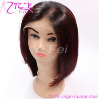 Wholesale burgundy bob wig - Ombre 1B Burgundy Lace Front Human Hair Wig 1b #99j Two Tone Colors Bob Wave Natural Full Lace Wigs For Women From YiFei