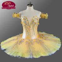 ballet amarillo tutu al por mayor-Niñas Tutu Ballet Profesional Oro Amarillo Flor Hada Panqueque Cascanueces Vestido de Bailarina Pancake Ballet Tutu LD0076
