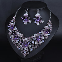 Wholesale New design bridal jewelry set Dubai purple multicolor Crystal Silver Plated Jewelry Wedding Party Wedding Necklace Necklace Set
