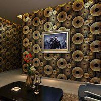 Wholesale Foil Insulation Roll - Modern Minimalist 3D Stereoscopic Circles Wallpaper Living Room KTV Bar TV Background Gold Foil Wallpaper Mural Wall Paper Roll