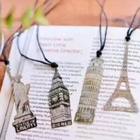 Wholesale Eiffel Bookmark - London Elizabeth Eiffel Tower Statue Of Liberty Metal Book Markers Metal Bookmark For Books Paper Clips Office Supplies Wedding gifts