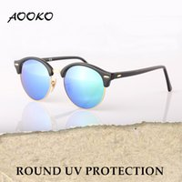 Wholesale Uva Uvb Sunglasses - AOOKO Newest Hot Designer Brand Club UVA UVB Sunglasses Round Men Sun Glasses Women Outdoor Retro Sunglass Gafas de sol 51mm 11 COLORS