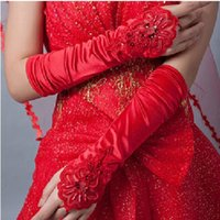 Wholesale Mitten Holders - Woman headdress hair The Bride Bridesmaid White Rose Lace pearl long hollow mittens show party props jewelry
