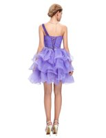 Wholesale Girl Mini Skirts Up Parties - Bows Eleagnt Short Dress Party Gown Cheap Lace Up Back Tiered Skirt Sweet Girls Wear Purple Short Prom Dresses Fashion Style Crystals