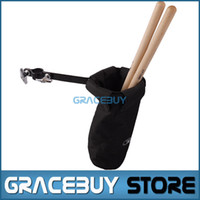 Wholesale Drum Sticks Case - Wholesale-Drum Sticks Holders Black Nylon Clip On Stand Drumsticks Cases Drummer Accessories New