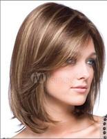 ingrosso capelli biondi asiatici-XT886 Moda donna asiatica seta pura fibra naturale tipo ad alta temperatura di sintesi frangia frangia parrucca capelli lunghi striato parrucche oro scuro