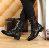 Wholesale Knee High Men S Boots - Men 's boots British high boots to help Gaotong Martin boots leather Korean trend of men boots boots