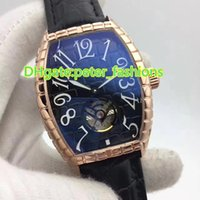 Wholesale Machinery Import - Top luxury new men's watches Tourbillon series sapphire blue dial transparent glass leather strap imported machinery waterproof watches