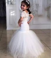 Wholesale Toddler Mermaid - Lace Mermaid Flower Girl Dresses Short Sleeves Tulle Floor Length Pageant Dresses