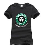 Wholesale Silver Star Tees - Wholesale- Cool star war coffee print funny women T-Shirt 2016 summer cotton fashion harajuku brand korean tee shirt femme casual punk tops
